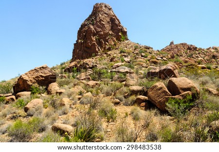 Rock Formations on Hill at Big Bend National Park - stock photo
