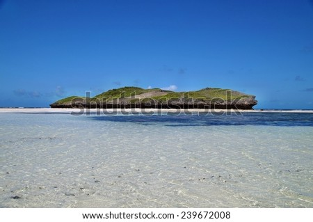 Rock formations on Watamu beach near Malindi, Kenya - stock photo