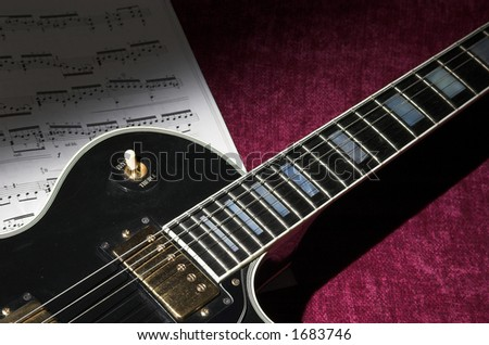 Rock guitar detail with copy space to right - stock photo