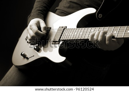 rock guitarist - stock photo
