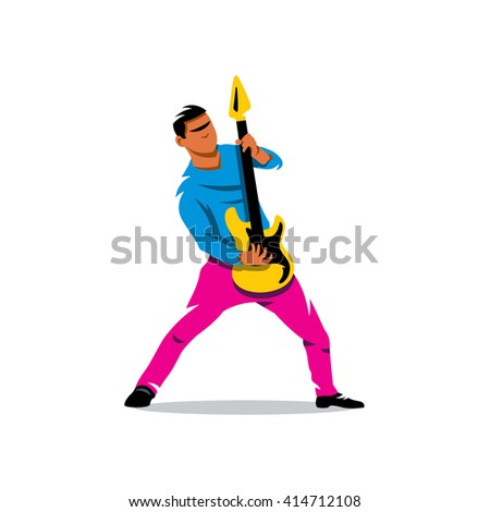 Rock Guitarist Cartoon Illustration. Rock musician is playing electrical guitar. Branding Identity Corporate unusual Logo isolated on a white background - stock photo