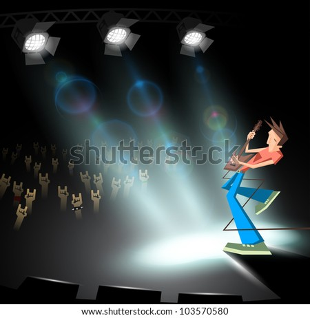 rock guitarist under stage lighting - stock photo