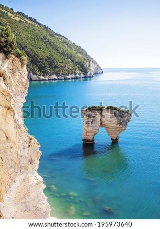 Rock in the sea, Italy - stock photo