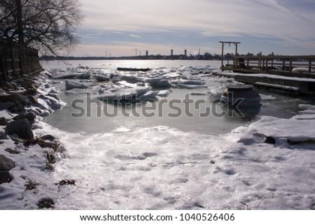 Rock Island Cove in Quincy, MA in winter.