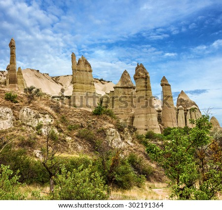 Rock landscape. Cappadocia, Turkey. Goreme national park. - stock photo