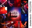 rock live concert collage, guitarist and bassist - stock photo