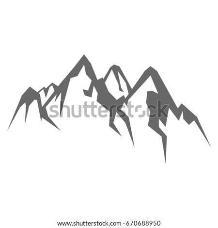 Rock mountain silhouette illustration isolated on white background