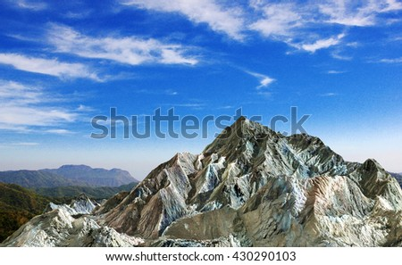 Rock mountain under cloud blue sky for nature background, 3D rendering