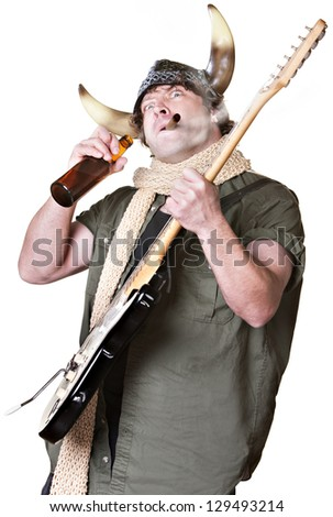Rock musician with electric guitar smoking and drinking - stock photo
