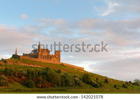 Rock of Cashel at sunset , irish abbey in Tipperary county - stock photo