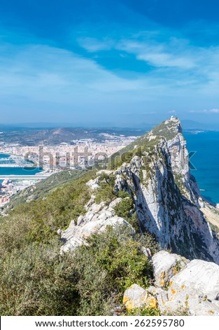 Rock of Gibraltar and  city of Gibraltar - stock photo