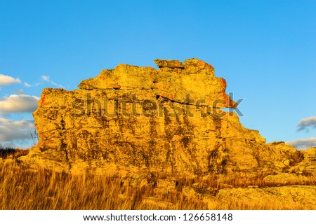 Rock on a sunny day of Madagascar, Africa - stock photo