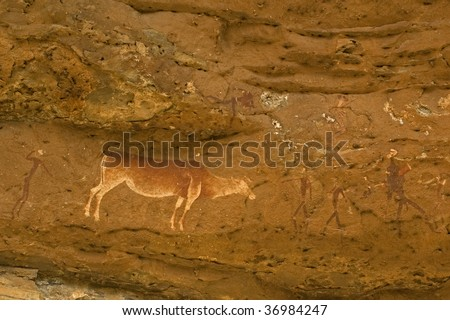 Rock paintings, Bushman hunting, Eastern Cape, South Africa - stock photo