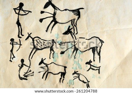 Rock paintings on paper close up - stock photo