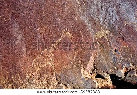 Rock paintings, Twyfelfontein, Namibia - stock photo