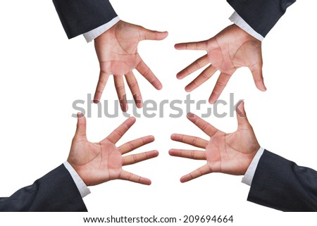 rock, paper, scissors - business hands on white