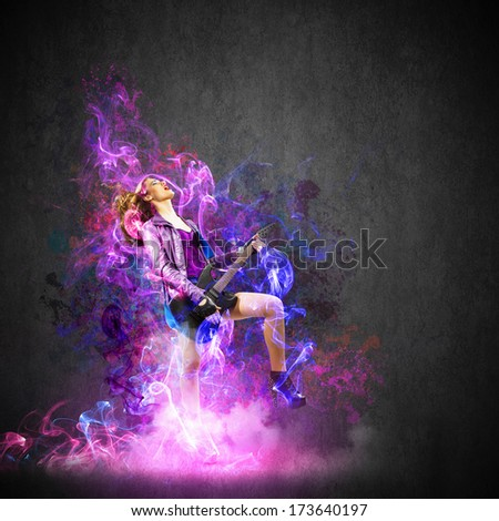 Rock passionate girl with wings and color splashes