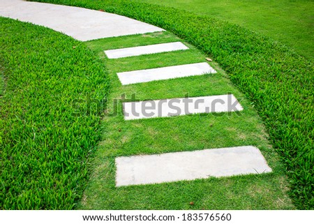 rock path and grass - stock photo