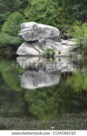 Rock reflection at a lake
