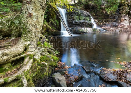 Rock River Falls in the Upper Peninsula of Michigan. Surrounded by forest - stock photo