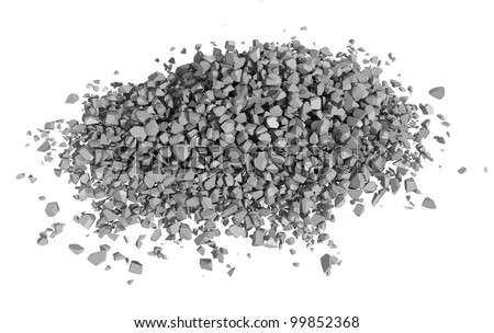 Rock rubble and pebbles in a small pile isolated on a white background - stock photo