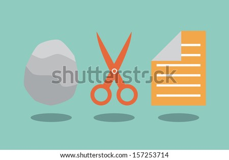 Rock scissors and paper. Solution concept. - stock photo