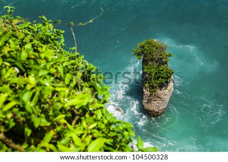 Rock sea and wave at Pura Uluwatu temple, Bali, Indonesia