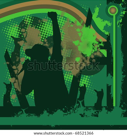 rock singer concert, music background for text - stock photo