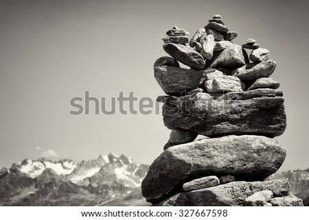 rock stack at the alps - stock photo