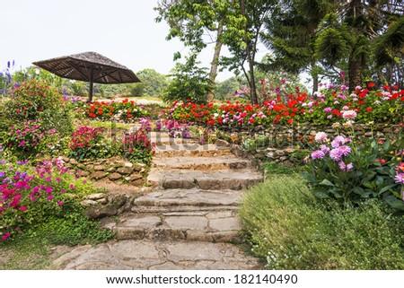 rock stair in garden - stock photo
