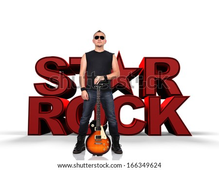 rock star men with electrical guitar - stock photo