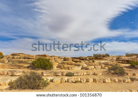 Rock steps leading to the Grand Canyon at Little Colorado River Gorge. - stock photo