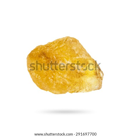 Rock sugar from sugar cane isolated on white background with clipping path. - stock photo