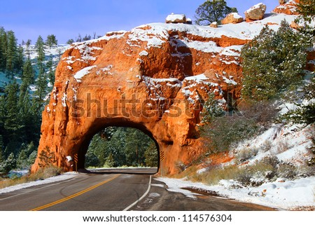 Rock Tunnel through the Red Canyon of Dixie National Forest in Utah - stock photo