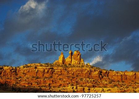Rock wall and formations in the evening near Canyonlands National Park, Utah