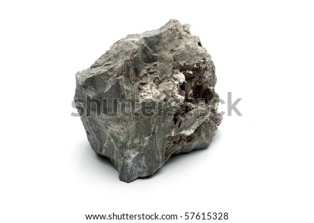 rock with calcite and amethyst - stock photo