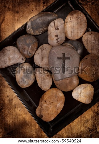 Rock with Cross Abstract Grunge Image - stock photo