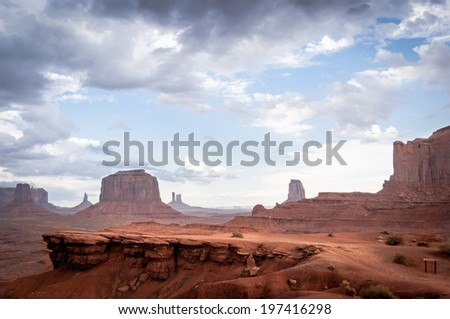 rock without horse in Monument Valley. The famous western sandstone formation in Monument Valley during sunset before thunder. - stock photo