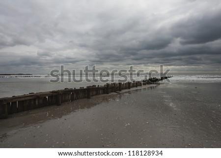 Rockaway beach. NY. Day after Hurricane Sandy - stock photo