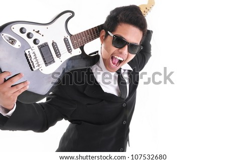 rocker businessman with the guitar isolated on white background - stock photo