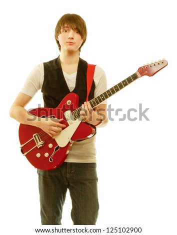 Rocker with his classic acoustic guitar against white background - stock photo