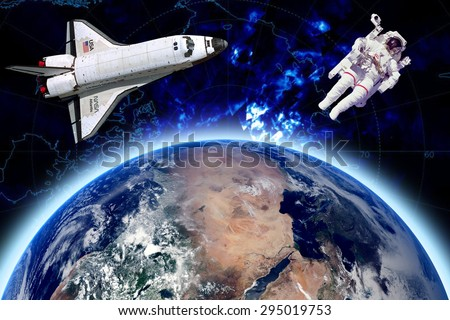 Rocket  and astronaut in outer space against the backdrop of the earth And constellations. Elements of this image furnished by NASA.