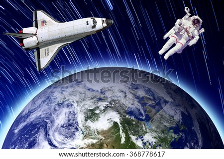 Rocket and astronaut in outer space against the backdrop of the earth And constellations. Elements of this image furnished by NASA