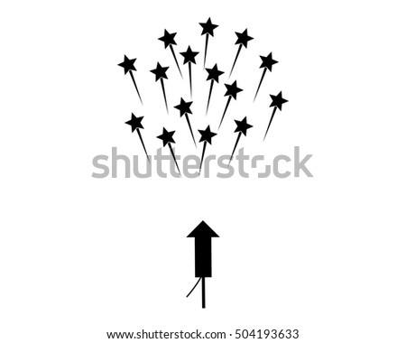 Rocket and stars on white