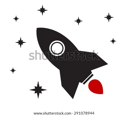 rocket icon spaceship design - stock photo