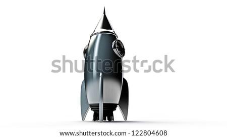rocket isolated on white background - stock photo