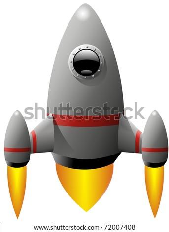Rocket ship blasting off - stock photo