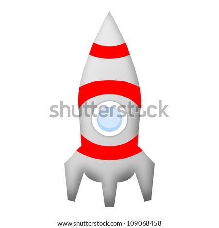 Rocket space ship illustration isolated on white background - stock photo