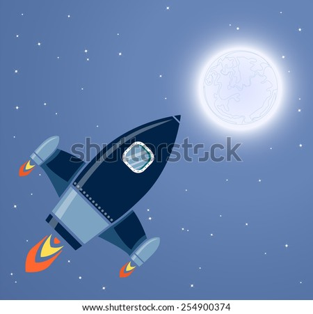 Rocket Space Ship, On Blue Background