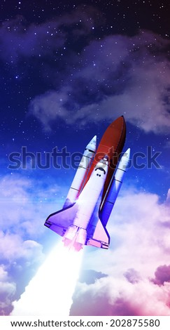 Rocket Takeoff - Elements of this Image Furnished By NASA - stock photo
